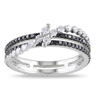 14k White Gold 7/8ct TDW Black and White Diamond Ring (G-H, SI1-SI2)