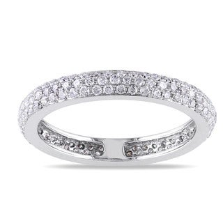 Miadora 14k White Gold 7/8ct TDW Diamond Eternity Ring (G-H, SI1-SI2)