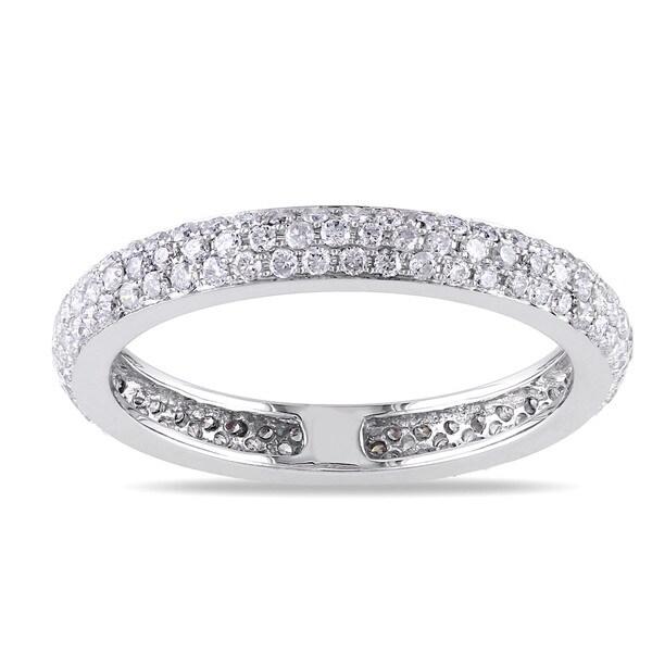 Miadora 14k White Gold 7/8ct TDW Diamond Eternity Ring (G-H, SI1-SI2)