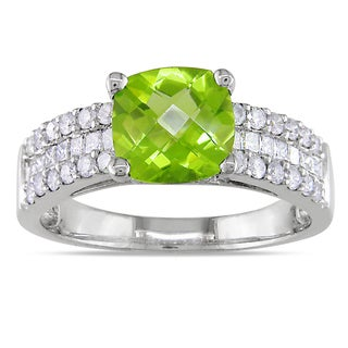 Miadora 14k Gold Peridot and 3/4ct TDW Diamond Engagement Ring (G-H, I1-I2)