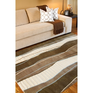 Hand-knotted Wavy Stripe Brown Dark Brown Semi-Worsted New Zealand Wool Rug (8' x 11')