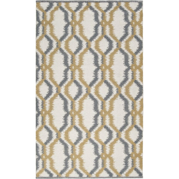 Hand-woven Moroccan Gold Ivory Wool Rug (5' x 8')