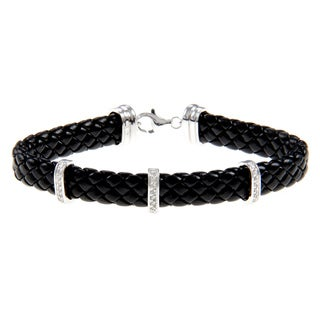 Silver and Black Leather 1/4ct TDW Diamond Bracelet