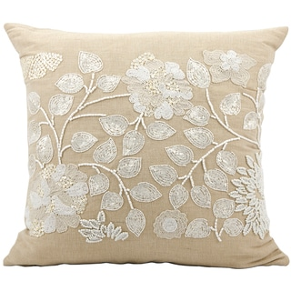 Mina Victory Luminescence Ivory Floral Beads 20 x 20-inch Decorative Pillow by Nourison