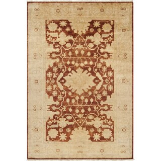 Hand-knotted Border Red Cinnamon New Zealand Wool Rug (5'6 x 8'6)