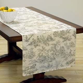 Extra Wide Italian Woven Grey Print Table Runner 95 x 26 inches