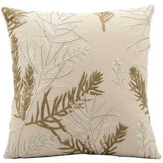 Mina Victory Luminescence Ivory Feather Branches Floral Beads 16 x 16-inch Pillow by Nourison