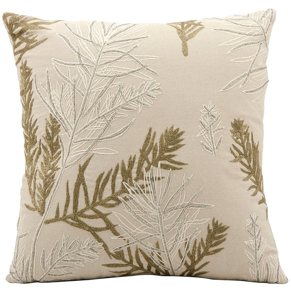 Mina Victory Luminescence Feather Branch Beige Throw Pillow (16-inch x 16-inch) by Nourison