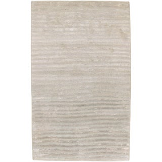 Hand-knotted Mushroom Tone Papyrus Semi-Worsted New Zealand Wool Rug (8' x 11')