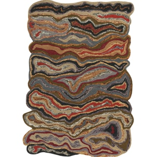 Hand-tufted Geode Multi-colored Wool Rug (3'3 x 5'3)
