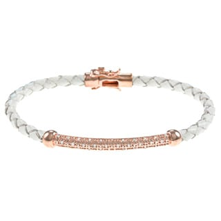 Gold/ Silver and White Leather 1/4ct TDW Diamond Bracelet (J-K, I3)