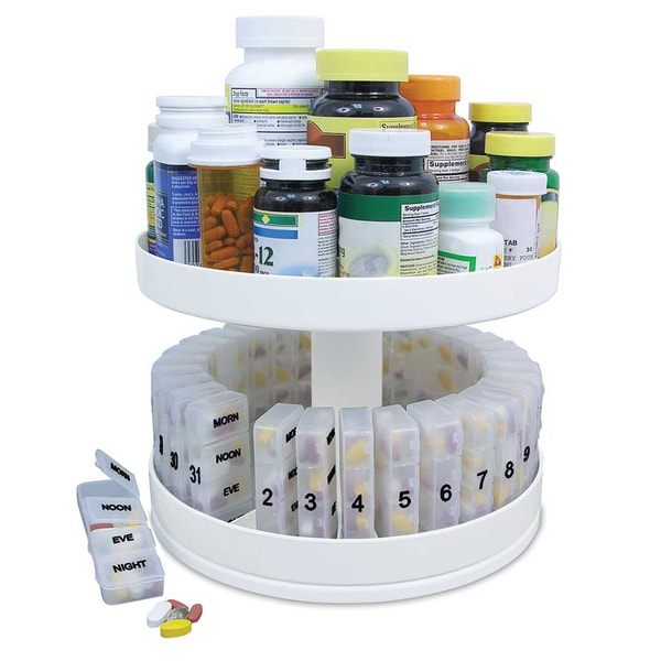 Revolving Medicine Center with 31 Separate Pill Compartments