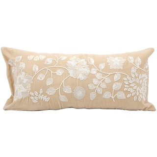 Mina Victory Luminescence Ivory Floral Beads 14 x 30-inch Decorative Pillow by Nourison