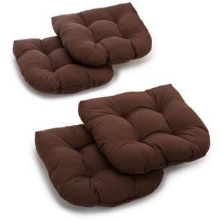Blazing Needles 19-inch U-shaped Tufted Twill Chair Cushions (Set of 4)