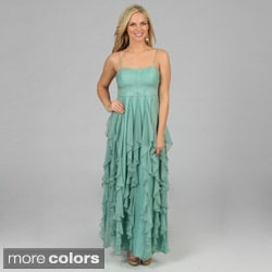 Decode 1.8 Women's Long Cascading Ruffled Evening Gown