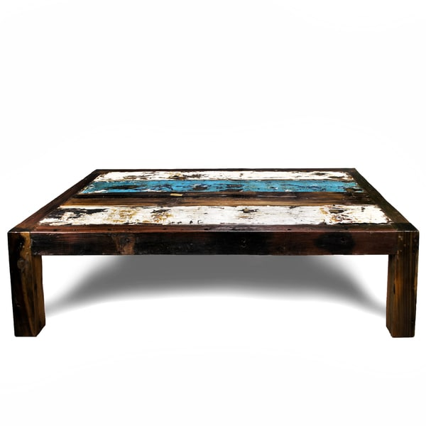 Ecologica Light Blue and White Coffee Hardwood Table