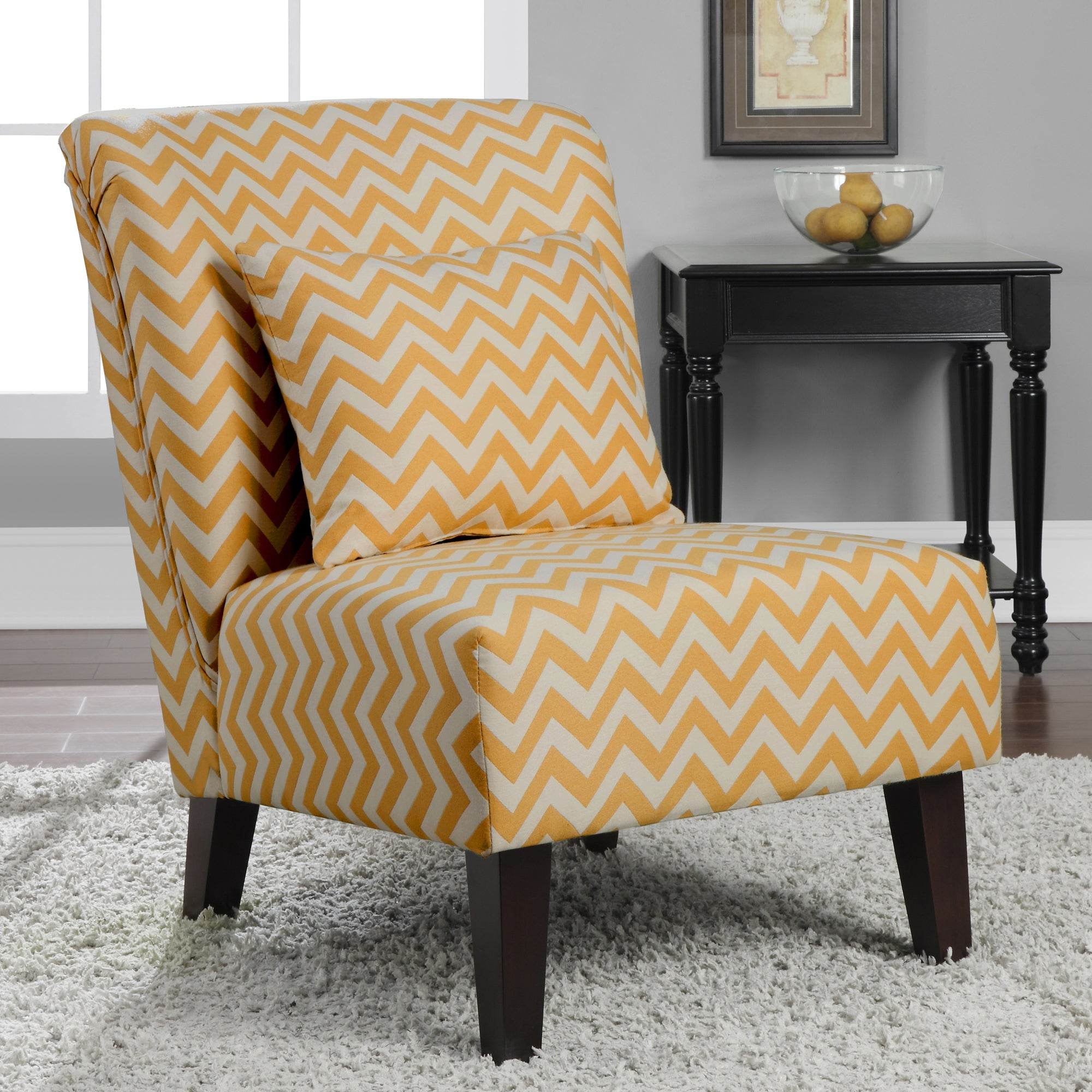 Anna French Yellow Chevron Fabric Accent Chair Overstock