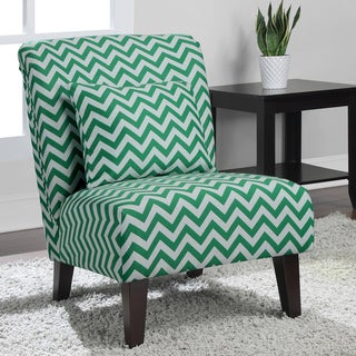 Anna Emerald Chevron Fabric Accent Chair