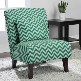 Anna Emerald Chevron Fabric Accent Chair