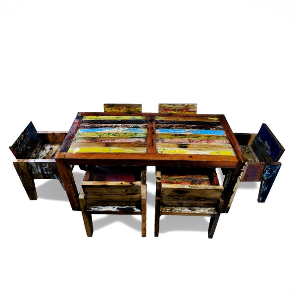 Ecologica Reclaimed Wood Multi-Color Dinning Table