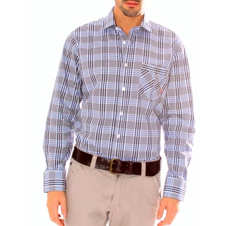 191 Unlimited Men's Button-up Plaid Woven Shirt