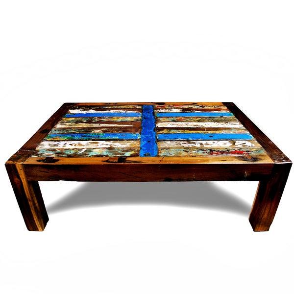 Ecologica Reclaimed Wood Blue Stripe Coffee Table