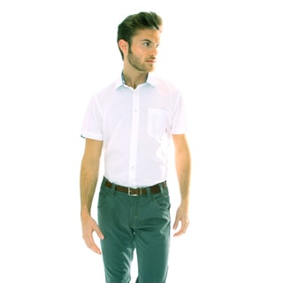 191 Unlimited Men's Solid White Woven Shirt