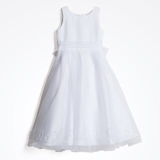 Us Angels Girl's White Sheer Overlay Formal Dress