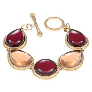 Rivka Friedman Garnet/ Peach Crystal Round Center Teardrop Line Bracelet