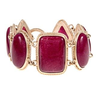 Rivka Friedman Red Quartzite Alternating Shape Gem Line Bracelet