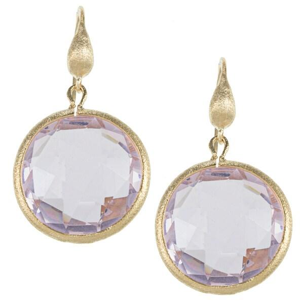 Rivka Friedman 18k Gold Overlay Round Faceted Pink Topaz Earrings