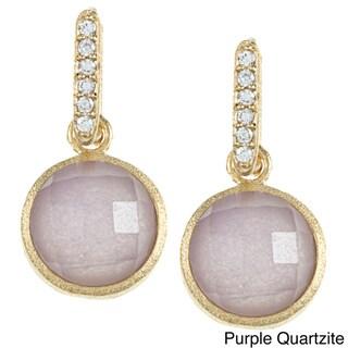 Rivka Friedman Petite Round Gemstone and CZ Earrings