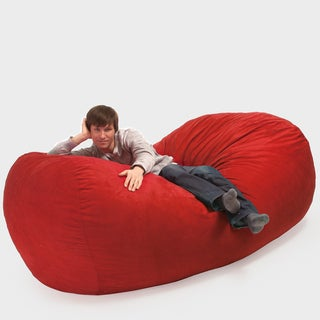 Larson Red Faux Suede 8-foot Lounger Bean Bag