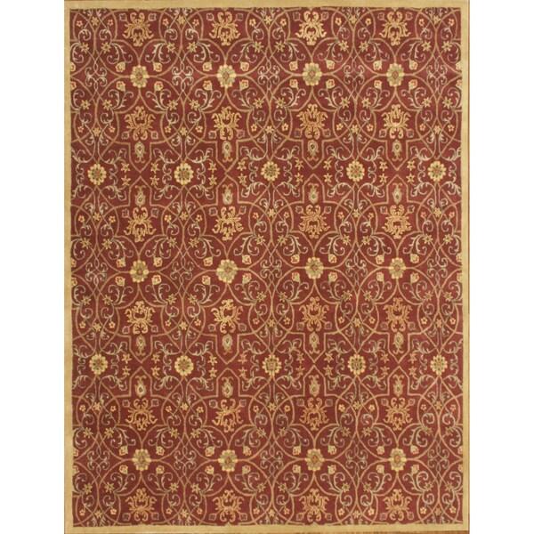 Alliyah Hand-tufted Delhi Burgundy/ Gold New Zeeland Wool Rug (10 x 14)