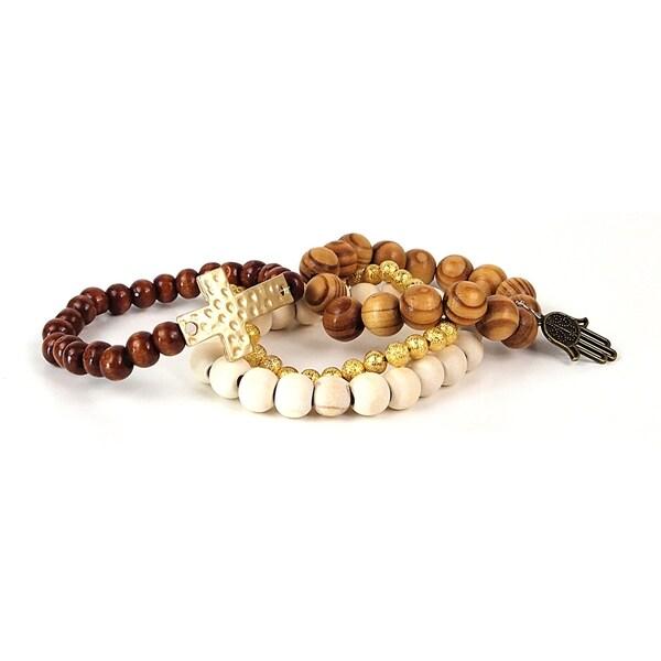 Pretty Little Style Goldtone Wood Cross Bead Bracelet Set