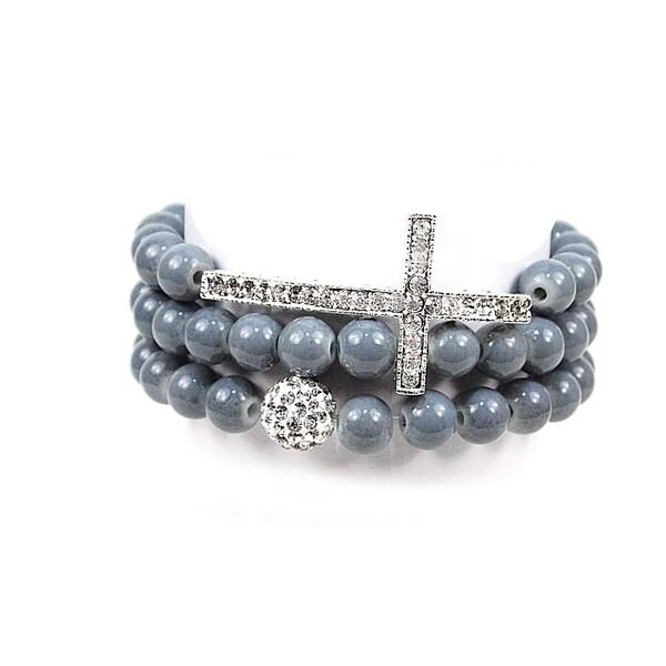 Pretty Little Style Silvertone Cross Grey Glass Bead Bracelets
