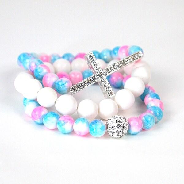 Pretty Little Style Silvertone Cross Mulit-color Glass Bead Bracelets