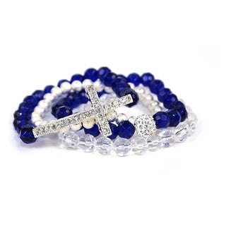 Pretty Little Style Silvertone Cross Blue Glass Bead Bracelets