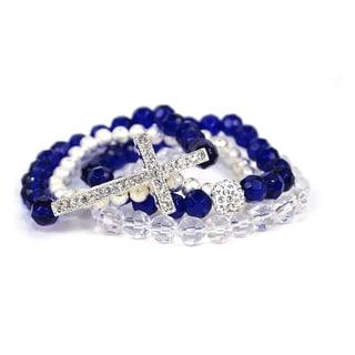 Pretty Little Style Silvertone Cross Blue Glass Bead Bracelets