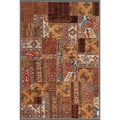 Pak Persian Hand-knotted Patchwork Multi-colored Wool Rug (5'3 x 7'9)