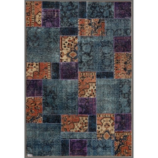 "Pak Persian Hand-Knotted Patchwork Multicolored Wool Indoor Rug (5'10"" x 8'10"")"