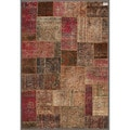 "Pak Persian Hand-Knotted Patchwork Multicolored Geometric Wool Rug (5'4"" x 7'10"")"