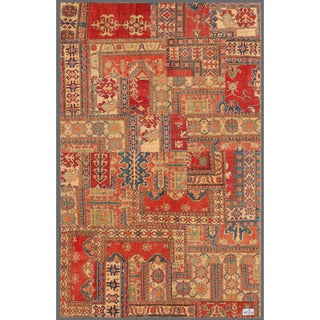 Pak Persian Hand-knotted Patchwork Multi-colored Wool Rug (5'2 x 8'1)