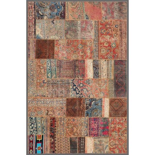 Pak Persian Hand-knotted Patchwork Multi-colored Wool Rug (5'2 x 7'9)