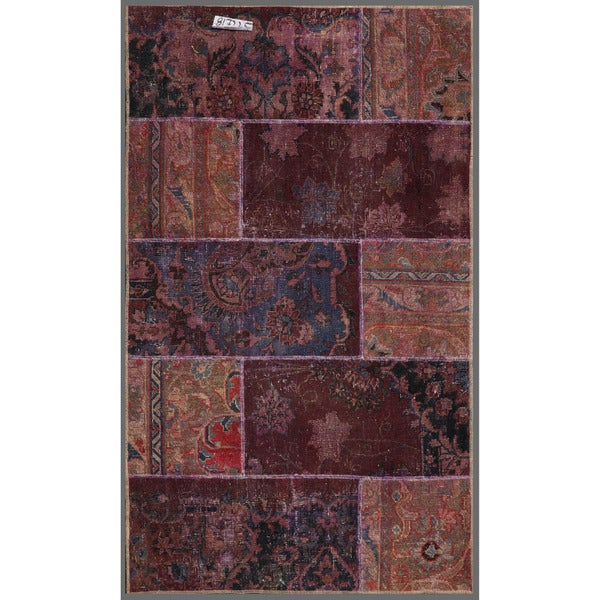 Pak Persian Hand-knotted Patchwork Multi-colored Wool Rug (2'11 x 4'10)
