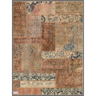 Pak Persian Hand-knotted Patchwork Multi-colored Wool Rug (4'10 x 6'6)