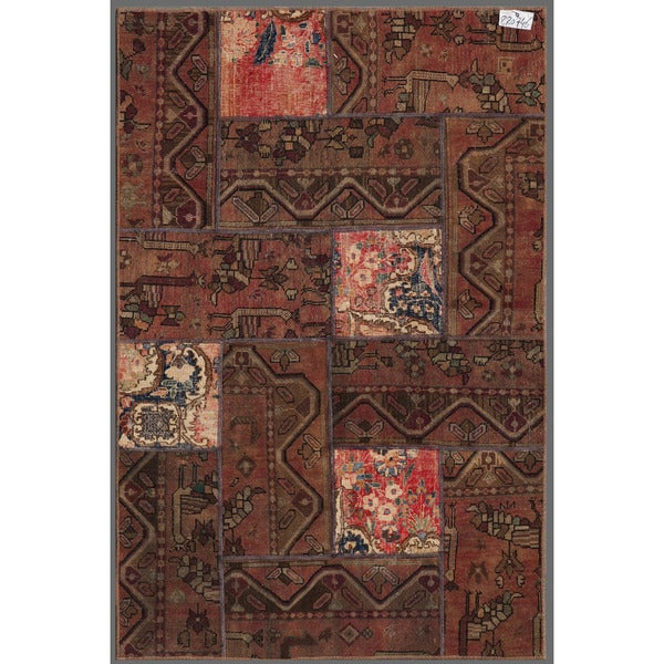 "Pak Persian Hand-Knotted Patchwork Traditional Multicolored Wool Rug (3'10"" x 5'11"")"