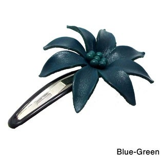 Handmade Genuine Leather Lily Hair Pinch Clip (Thailand)