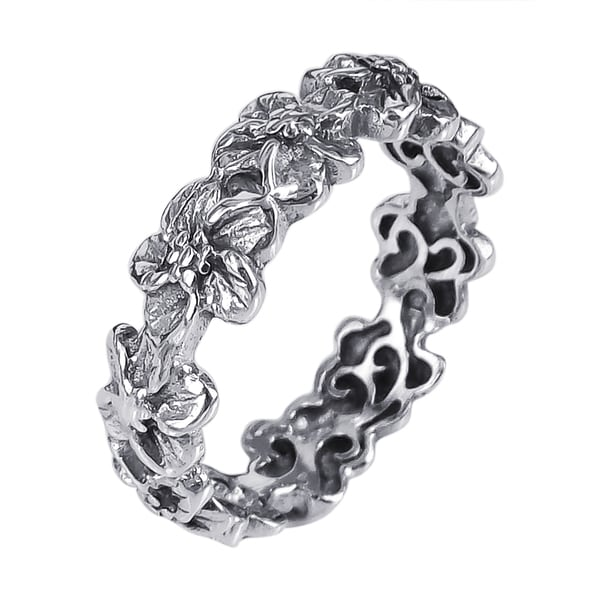 Sterling Silver Plumeria Flowers Eternity Band Ring (Thailand)