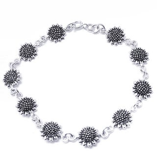 Sterling Silver Pretty Sunflower Link Bracelet (Thailand)